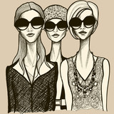 three women with sunglasses