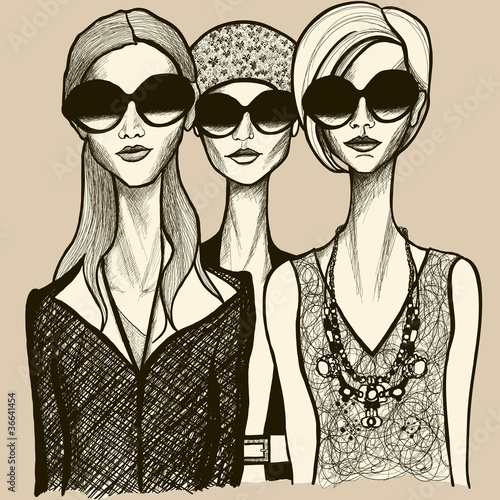three women with sunglasses - 36641454