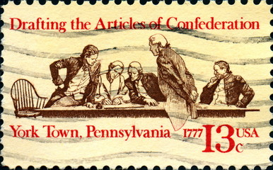 Drafting the articles of condederation 1777 US Postage.