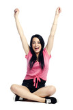 Happy and confident young woman thrilled poster