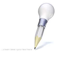 Light bulb, Pencil, and Good idea.