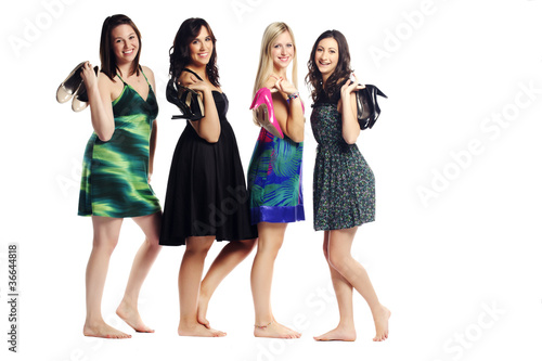 Attractive group of pretty young models posing