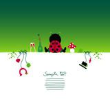Card Sitting Ladybug & Symbols New Year´s Eve poster
