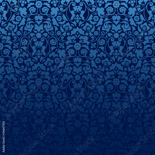 Seamless Damask Pattern Blue