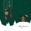 Sitting Reindeer Santa´s Hat & Hanging Symbols