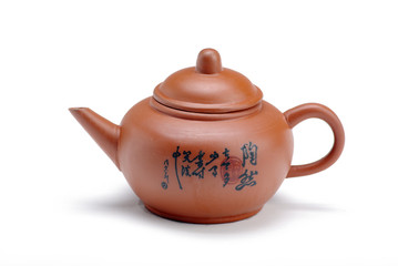 Chinese clay teapot isolated over the white background