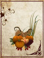 Giorno del ringraziamento - composizione su sfondo vintage