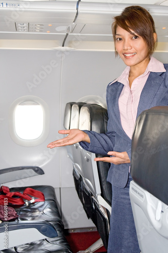 stewardess in the empty airplane..