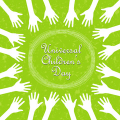 Hands around the text, universal children's day