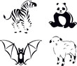 Black and White Animals. Collection in outline style