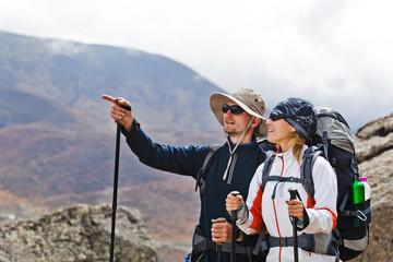 Couple Hiking in Himalaya Mountains