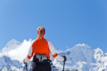 Woman trekking in Himalayas, Everest National Park