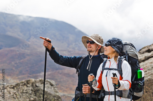 Couple Hiking in Himalaya Mountains