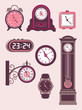 Set of design elements – modern and old-fashioned clocks