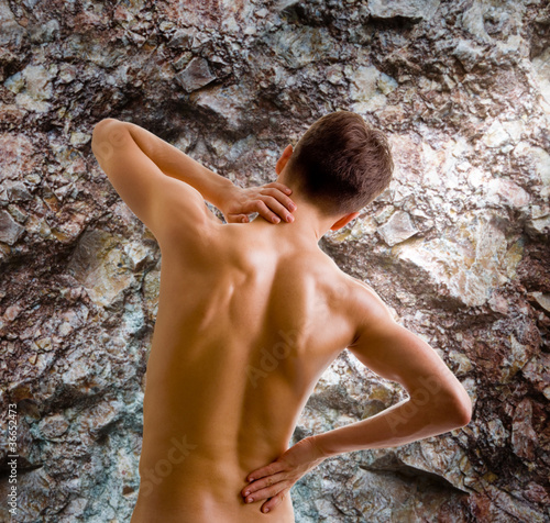 back and shoulder naked male body
