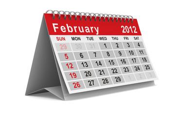 2012 year calendar. February. Isolated 3D image