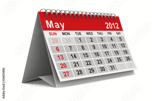 2012 year calendar. May. Isolated 3D image