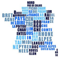 Les régions de France, vecteur stylisé