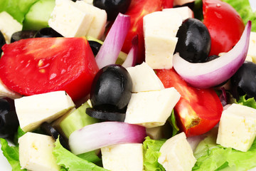 Tasty greek salad on plate closeup