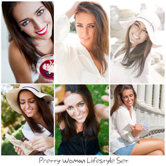Set of different photo. Young pretty woman lifestyle