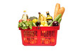 A studio shot of a shopping basket full of groceries