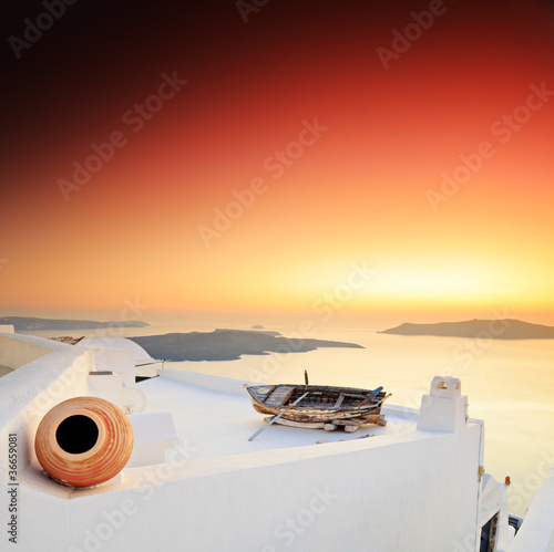 A sunset over Santorini island
