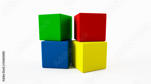 4 coloured cubes