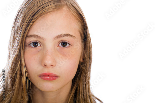 Young girl with serious expression