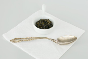 Caviar and silver spoon