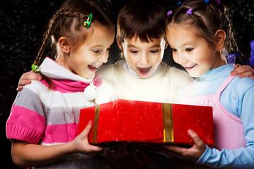Kids with Christmas gift