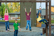 A group of kids playing during recess at school playground - 36665224