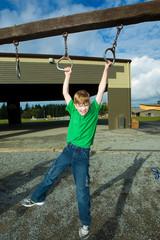 Young boy having fun at school