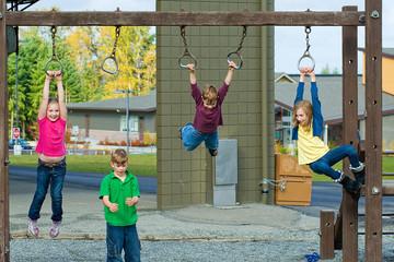 Group of kids having fun at school