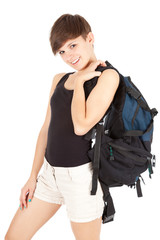 young walker girl with backpack, white background