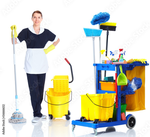 Cleaner maid woman washing floor.