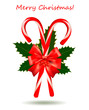 Red Christmas candy cane with bow and ribbons. Vector