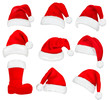 Big set of red santa hats and boot. Vector illustration.