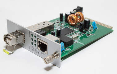 Fiber optic Media converter card with SFP