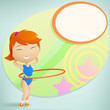 Girl gymnast with red hula-hoop on abstract background