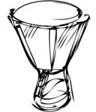 sketch of percussion instruments orchestra poster