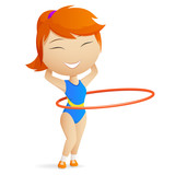 Girl gymnast with red hula-hoop.