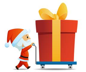 Service men santa with cart and big christmas gift box