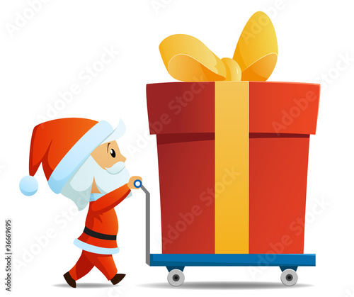 Service men santa with cart and big christmas gift box