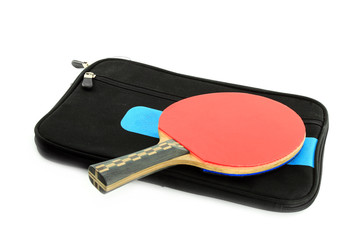 Table tennis racket and case on white blackground