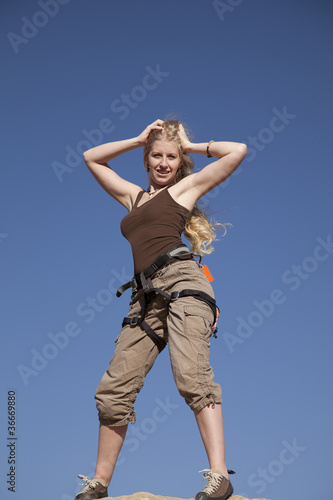 rock climber woman on top