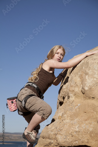 rock climbing near top looking