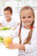 Happy healthy kids eating