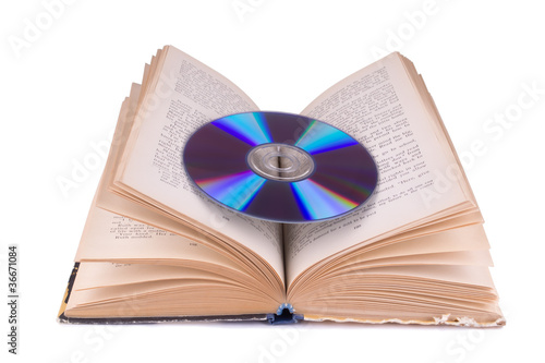 Open book and compact disc isolated on white
