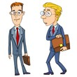 Cartoon businessman with briefcases
