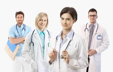 Medical doctors on white background, portrait